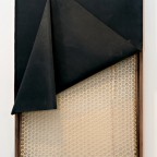 Jonathan VanDyke, Painting No. 2, 2011, Walnut, rubber, handwoven leather cord and wax thread in spider weave pattern, paint