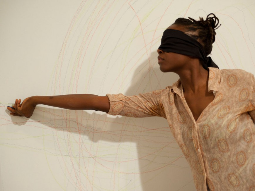 Taisha Paggett, Decomposition of a Continuous Whole, 2010, performance/installation, performance documentation of Quadruple-Consciousness