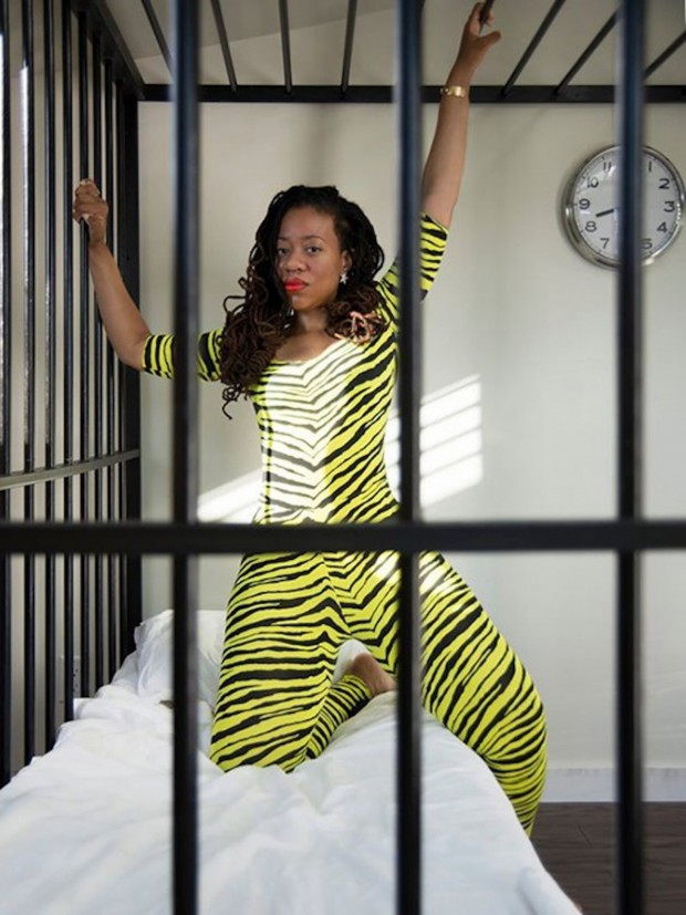 "Ayana Evans, ""Operation Catsuit within Miao Jiaxin's Cage"" 2014 photo: Miao Jiaxin"