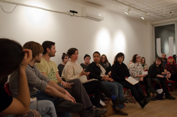 Image Credit: Feminist Urgent, 2014 at Bruce High Quality Foundation University, NYC with Penny Arcade, Emily Brandt, Juliana Driever, Hafizah Geter, Katya Grokhovsky, Anya Liftig, Jacqueline Mabey, Leah Schrager, photo Peter Gynd