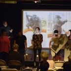 """Alan Labb and members of audience performing in the kick off event of """"Call of the Wild: Pioneers, Rebels and Heroines"""" – an evening of dedications to Barbara DeGenevieve."""