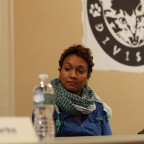 Moderator Kamilah Clarke begins the discussion with an introduction of the panelists, Nuala Cabral pictured.