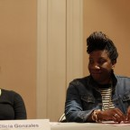 Moderator Kamilah Clarke begins the discussion with an introduction of the panelists, Elicia Gonzales and Tarana Burke pictured.