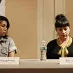 The panelists involved in a discussion, Catzie Vilayphonh and Elicia Gonzales pictured.