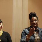 The panelists involved in a discussion, Elicia Gonzales and Tarana Burke pictured.