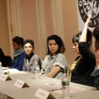 Moderator Kamilah Clarke poses a question to the panel; From left to right: Nuala Cabral, Preeti Pathak, Catzie Vilayphonh, Elicia Gonzales, and Tarana Burke.