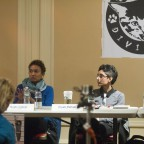 The panelists involved in a discussion, Nuala Cabral, Preeti Pathak and Catzie Vilayphonh pictured.