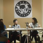 The panelists involved in a discussion, Preeti Pathak, Catzie Vilayphonh and Elicia Gonzales pictured.