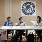 The panelists involved in a discussion, Nuala Cabral, Preeti Pathak,  and Catzie Vilayphonh pictured.