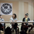 The panelists involved in a discussion, Preeti Pathak, Catzie Vilayphonh, Elicia Gonzales and Tarana Burke pictured