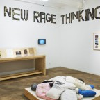 Installation view: Collected works (2001-2008), 2013, A complete collection of LTTR journals with artist multiples and audio recordings; A Wave of New Rage Thinking (2013) cardboard letters, video slideshow documentation of performances and events. By Ginger Brooks Takahashi and courtesy of the artist. Image courtesy of Vox Populi.