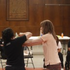 Sempai Elena Waldman demonstrates how to defend yourself against various kinds of physical attack.