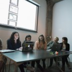 The panel of presenting artists at Full Circle; From left to right: Lauren Cook, Grace Miceli, Diana Cirullo, Emily Thompson, Claire Folkman, and Kelly Phillips.