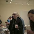 Kate Kraczon, curator at the ICA, speaks with artist Stephanie Bursese at the Vox Populi Gallery Table