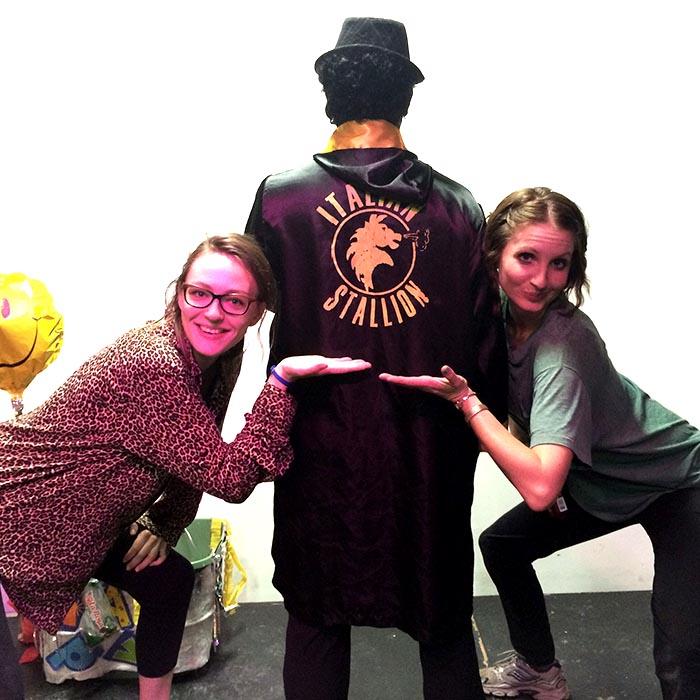 Whitney Kimball, Jenny Drumgoole, and Rocky impersonator