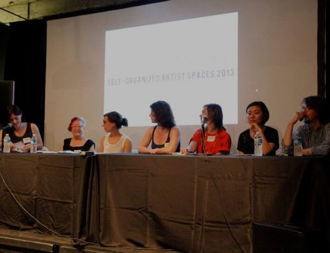 Panel on Regional Issues for Artist Spaces which included (L to R) moderater Bridget Donahue of Cleopatra's, Martha Wilson from Franklin Furnace, Rebecca Mazzei from Trinosophes, Ruthie Stringer and Dana Bishop-Root from Transformazium, and Yuka Yokoyama and David Dempewolf from Marginal Utility.SOS: Self Organized Spaces, Remake/Remodel Conference August 2013. Photograph by Kelsey Halliday Johnson