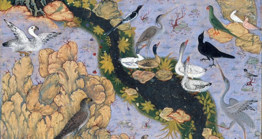 The Conference of the Birds, Folio from an illustrated manuscript, Author: Farid al-Din `Attar (ca. 1142–1220), Artist: Habiballah of Sava (active ca. 1590–1610), Ink, opaque watercolor, gold, and silver on paper