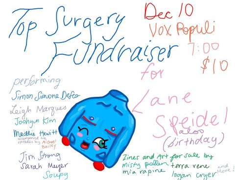 Lane Speidel is raising money to pay for their top surgery and recovery and their lovely friends are helping them throw a fundraiser to do it!