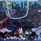 Katherine Mann, Dunhuang 5, 2016. Acrylic and silkscreen on woven paper, 51 x 82 inch. Courtesy of the artist.