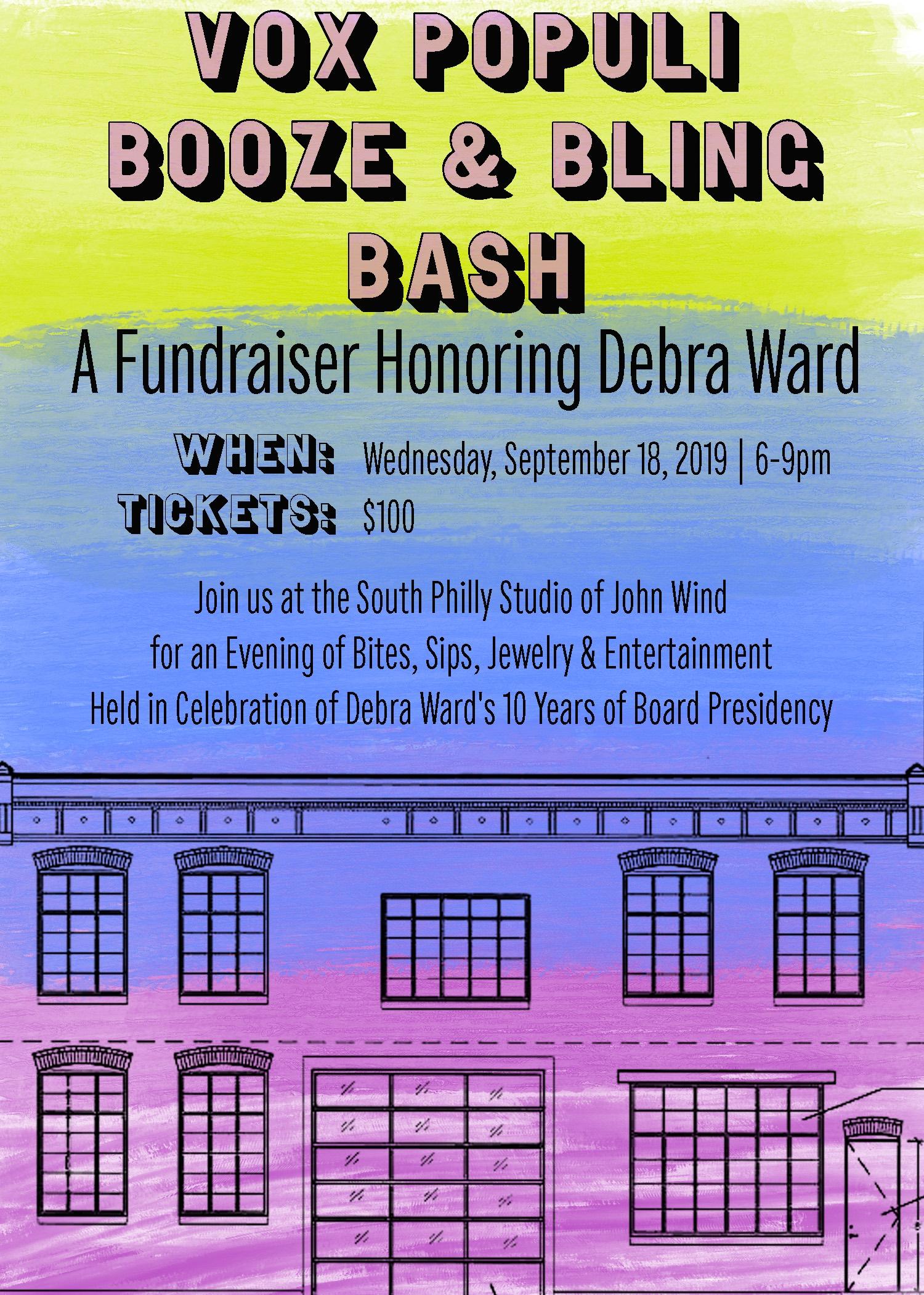 2019 Vox Populi fundraiser honoring Debra Ward - save the date poster